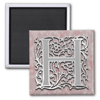 "H Monogram 'Silver Stone' 2"" Square Magnet"