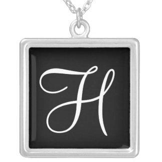 H Monogram Square Custom Pendant Necklace