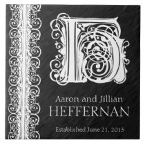 "H Monogram ""White Lace on Black"" Wedding  Tile"