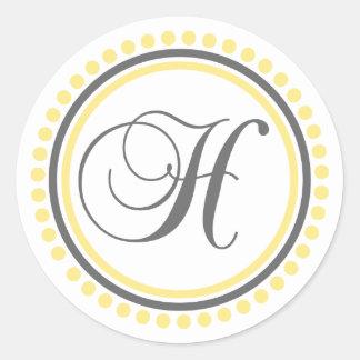 H Monogram (Yellow / Gray Dot Circle) Classic Round Sticker