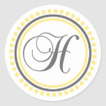 H Monogram (Yellow / Gray Dot Circle) Round Sticker