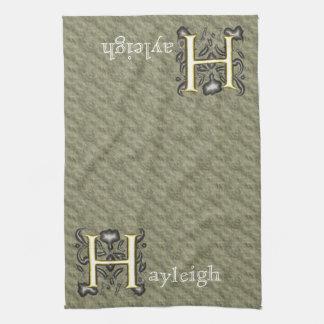 H - Monograma grabado en relieve del vintage (oro) Toallas De Mano