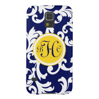 """""""H"""" Monogrammed Damask in Navy Blue and Yellow Galaxy S5 Case"""