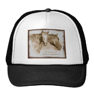 H-O-R-S-E Spells FREEDOM ART REALISM HORSE Mesh Hat