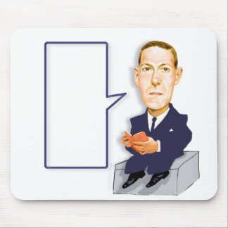 H. P. Lovecraft 1890 – 1937 cartoon on mousepad. Mouse Pad