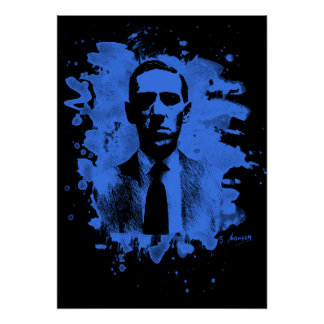 H.P. Lovecraft of tributes (blue) Poster