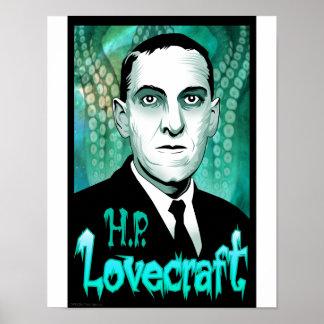 H.P. Lovecraft portrait (aqua) Poster