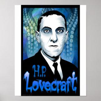 H.P. Lovecraft portrait (blue) Poster