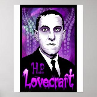 H.P. Lovecraft portrait (purple) Print