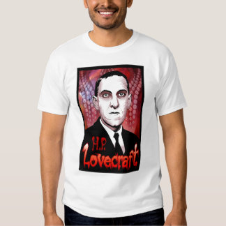 H.P. Lovecraft portrait (red) Tees