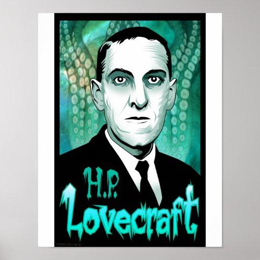 H.P. Retrato de Lovecraft (aguamarina) Impresiones