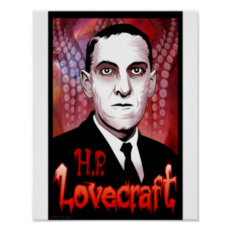 H.P. Retrato de Lovecraft (rojo) Poster