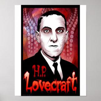 H.P. Retrato de Lovecraft (rojo) Póster
