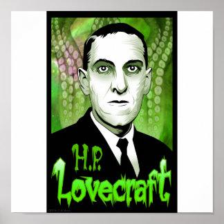 H.P. Retrato de Lovecraft (verde) Póster