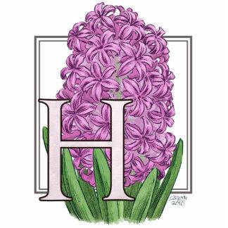 H para el monograma de la flor de los jacintos fotoescultura vertical