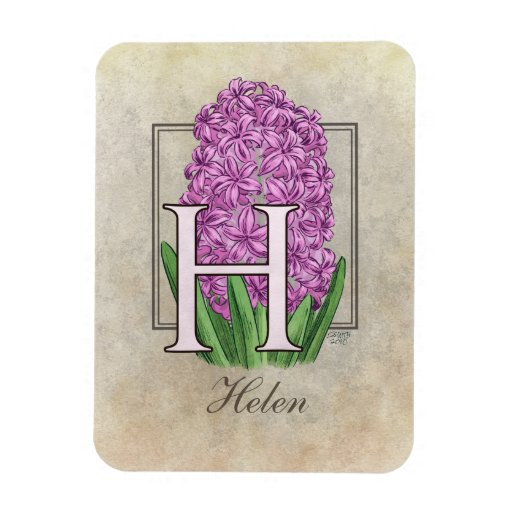 H para el monograma floral de los jacintos imanes flexibles