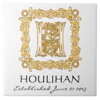 """H"" Surname Wedding Anniversary Day Monogram Tile"