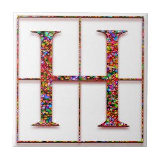 H Trajanus Red Custom Monogram Tile Tiles