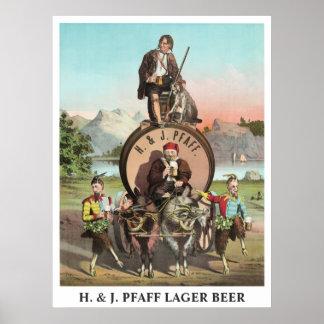 H. y título editable de la cerveza de cerveza dora poster