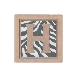 H-Zebra Skin Monogram Stone Magnet