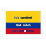 Ha deletreado Colombia no Columbia Tarjetas Postales