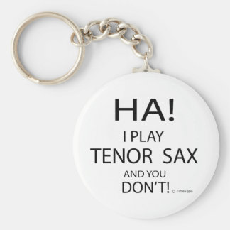 Ha Tenor Sax Basic Round Button Keychain