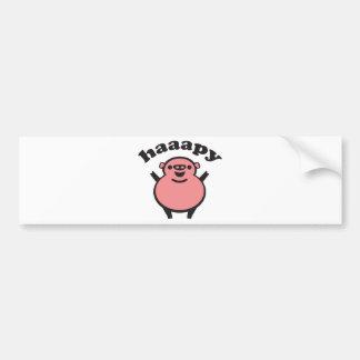 haaapy - happy pig bumper sticker