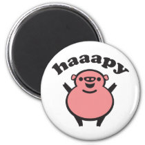 haaapy - happy pig magnet