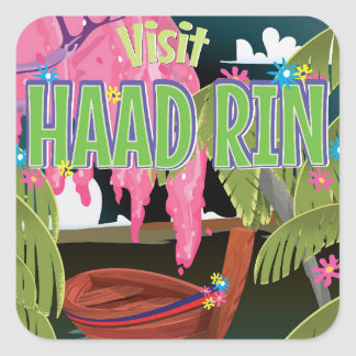 Haad Rin Thailand travel poster Square Sticker