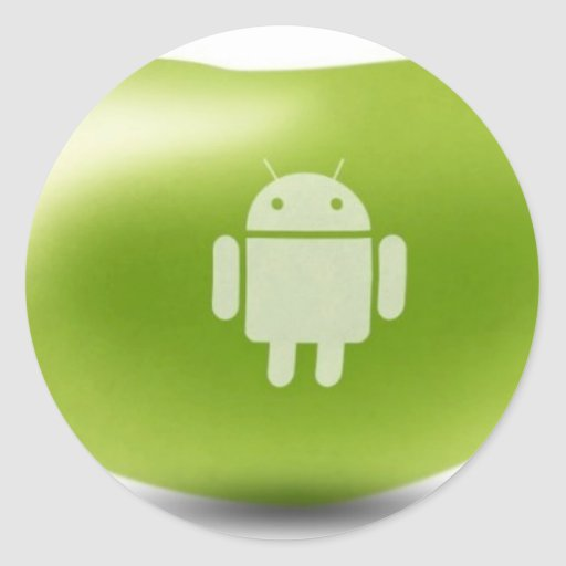 Haba de jalea androide pegatina redonda