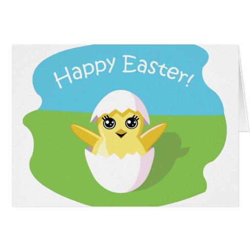 ¡Haba de jalea el polluelo - Pascua feliz! Tarjetón