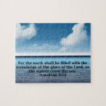 """Habakkuk 214 bible verse quote jigsaw puzzle<br><div class=""""desc"""">Quality products featuring and inspirational bible verse.</div>"""