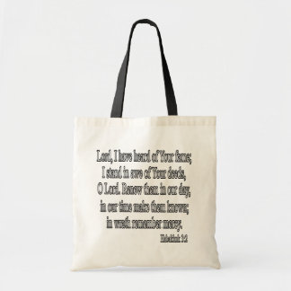 Habakkuk 3:2 square budget tote bag