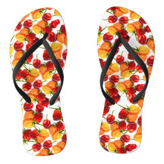 Habanero Chilies Red Peppers Orange Hot Food Flip Flops