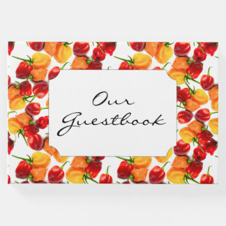 Habanero Chilies Red Peppers Orange Hot Food Guest Book
