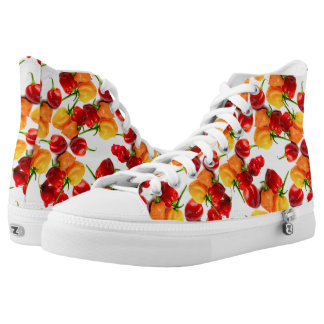 Habanero Chilies Red Peppers Orange Hot Food High-Top Sneakers