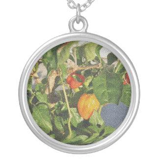 Habanero Peppers on Plant sandstone Round Pendant Necklace