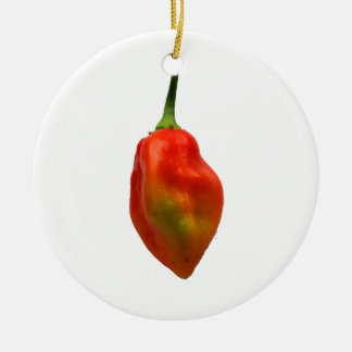 Habanero Single Pepper Photograph Double-Sided Ceramic Round Christmas Ornament