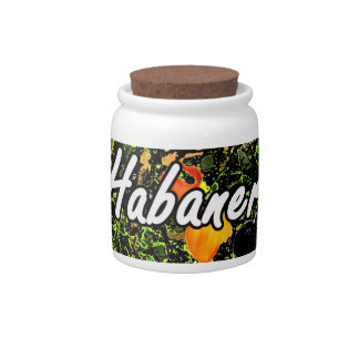 Habanero text against plant photograph candy jars