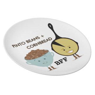 Habas de Pinto + Placa de la melamina del Cornbrea Plato