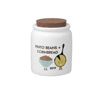 Habas de Pinto + Tarro del caramelo del Cornbread  Platos Para Caramelos