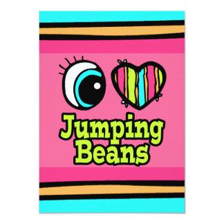 """Habas de salto brillantes del amor del corazón I Invitación 4.5"""" X 6.25"""""""