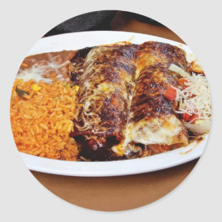 Habas del arroz de los Enchiladas Pegatinas Redondas
