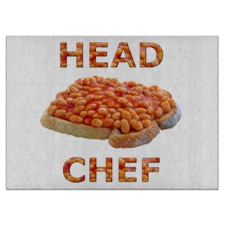 Habas del chef en tostada tablas para cortar