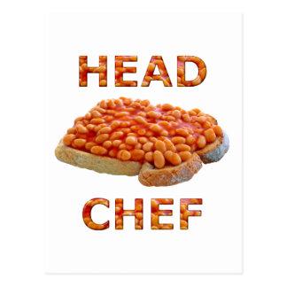 Habas del chef en tostada postal
