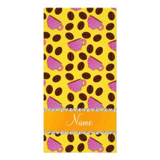 Habas rosadas amarillas conocidas personalizadas tarjeta fotográfica