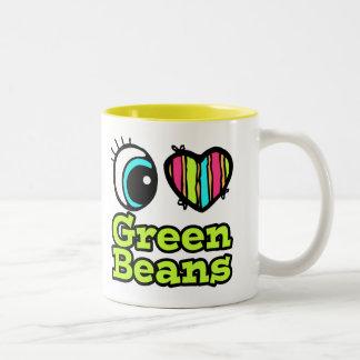 Habas verdes del ojo del amor brillante del taza de dos tonos