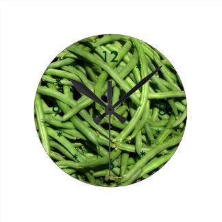 Habas verdes reloj redondo mediano