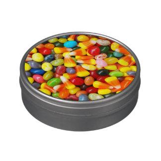 Habas y pastillas de caramelo de jalea jarrones de dulces