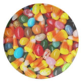 Habas y pastillas de caramelo de jalea platos para fiestas